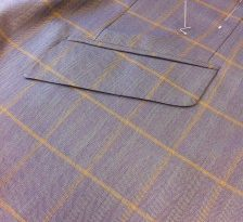 Cashmere and silk lilac cloth, attention to detail pocket matching through the seam.