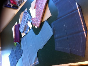 Another angle of the waistcoats after cutting.